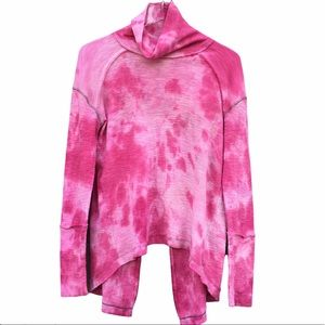 Free P  Hot Pink Tie Dye Thermal Split Turtleneck